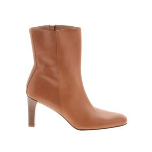 Ann Taylor leather heeled boots pointy toe brown